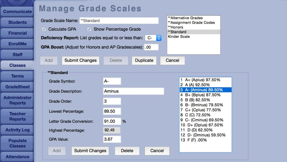 Gradelink gives you the flexibility to change grade scales as needed