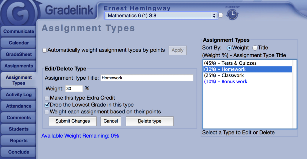 Weight assignments on a per-subject basis