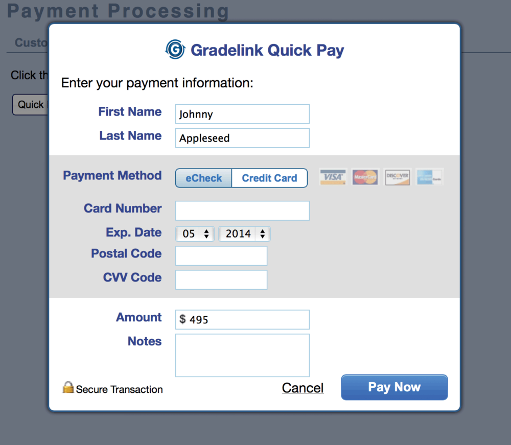 Gradelink Quick Pay