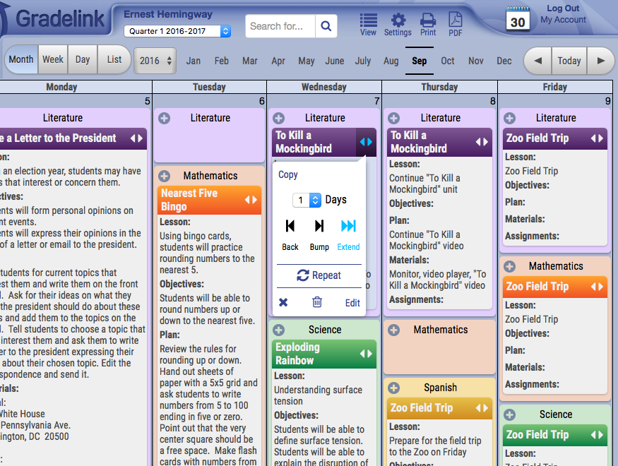 Gradelink Lesson Plan's calendar offers monthly, weekly, daily and list formats