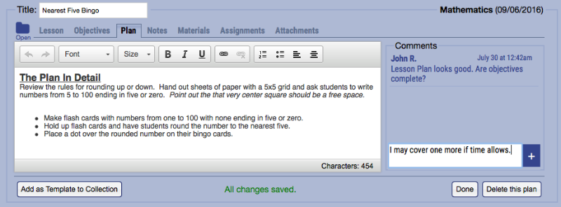 Lesson Plans is included with Gradelink's standard service