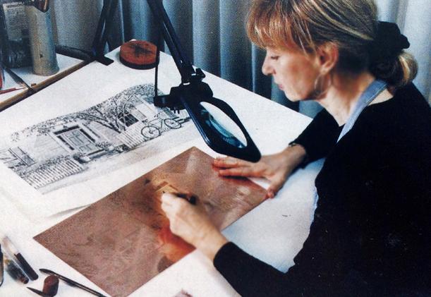 Carol burnishing 1999.jpg
