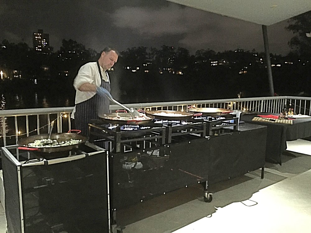 Food stations are a popular option  - Whether as part of the canapes service or as part of the main meal, the balcony can accommodate Paella stations; Pizza stations; Spit Roasts or even a full buffet for the main meal. Toowong Club offers you a large range of catering options for all sorts of different functions eg wedding reception, birthday party, corporate functions, award nights, Christmas parties.