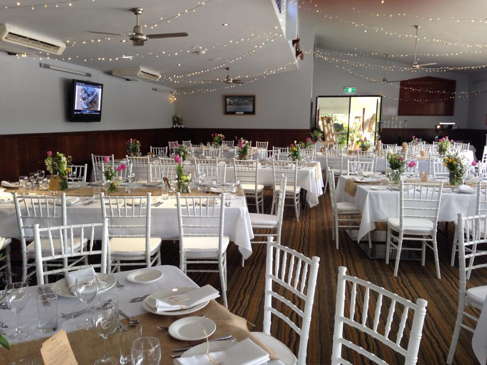 Wedding Receptions - Seated of cocktail, you have a choice. The beauty of Toowong Rowing Club Function Venue is that you can have the whole package in one.  No having to travel between venues and find something to do to fill in time till the reception. No having to find another car park.Our room seats 120.  130 if you go for the long table banquet option.  Our room is a 'blank sheet'. So the layout of tables can depend on your numbers and your preferences.