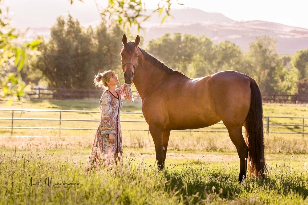 Nicole and Stella, Horse and Girl standing on pasture during sunset shoot