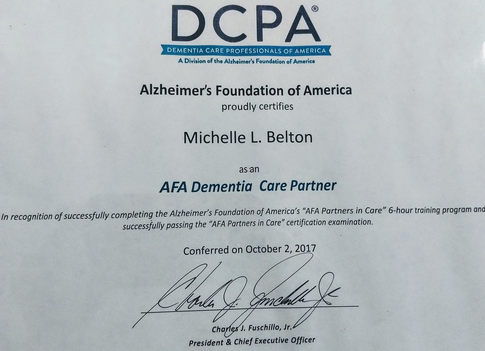 dementia care professionals of america certificate - michelle l belton - companion home care roanoke va.jpg