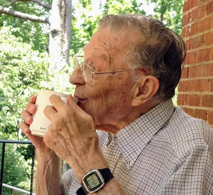 Charlie Lemon enjoying his morning coffee in Roanoke, VA