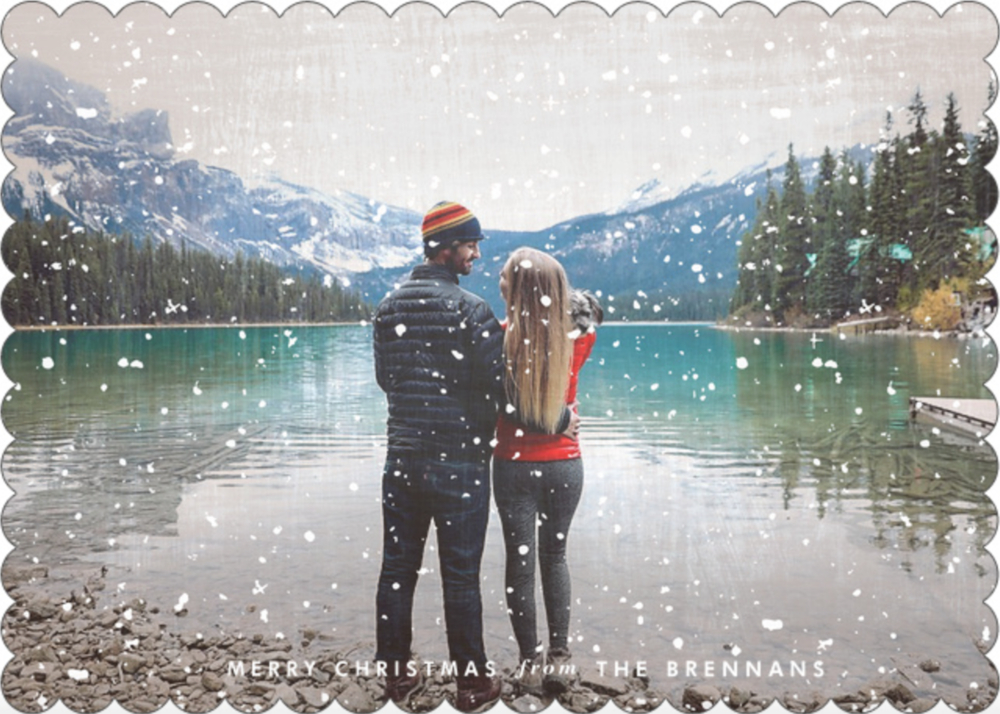 Shop this Christmas card  here   I loved our cards so much! Me, Pat + Gili hanging out at Lake Louise! The second I saw this picture I knew it was perfect for our Christmas Cards! I used Simply To Impress to design our cards this year and I will never use another company again! The quality was amazing!