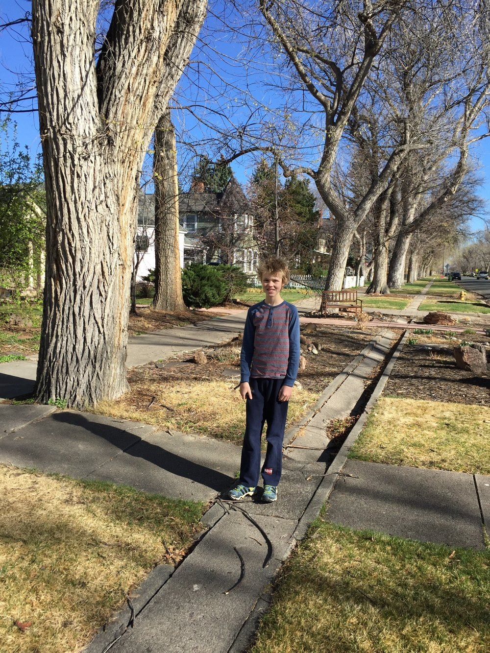 Our budding author standing on the El Paso Canal.