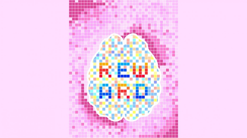 This image is an artistic interpretation of the authors' work. Within a myriad of many pixel-like neurons, an obvious pattern emerges from more active red pixels and from parallel, less-active blue pixels: the letters corresponding to the word reward (Credit: Gil Costa).