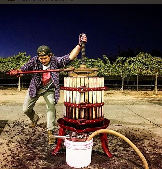 The Glory Days - The photo looks so simple but stands for so much. We are pressing one of our first wines. Pound by pound at 11 o'clock at night. 4 harvests ago. We didn't have a tasting room, name, label or even a concept. We had a simple plan that was scratched into the back of a moleskin journal and a whole lot of excitement for what we hoped would happen.