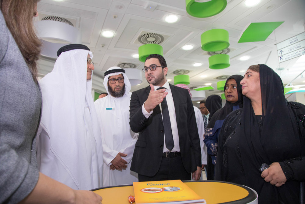 Axios' MENA Director speaks to representatives from the Dubai Health Authority during the Patient Support event in June 2017.