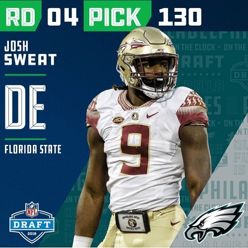 Congrats to #JoshSweat on taking your football career to the next level! The #SuperBowl Champs got a steal. #NFLDraft #FSUfootball #ShineHardMedia