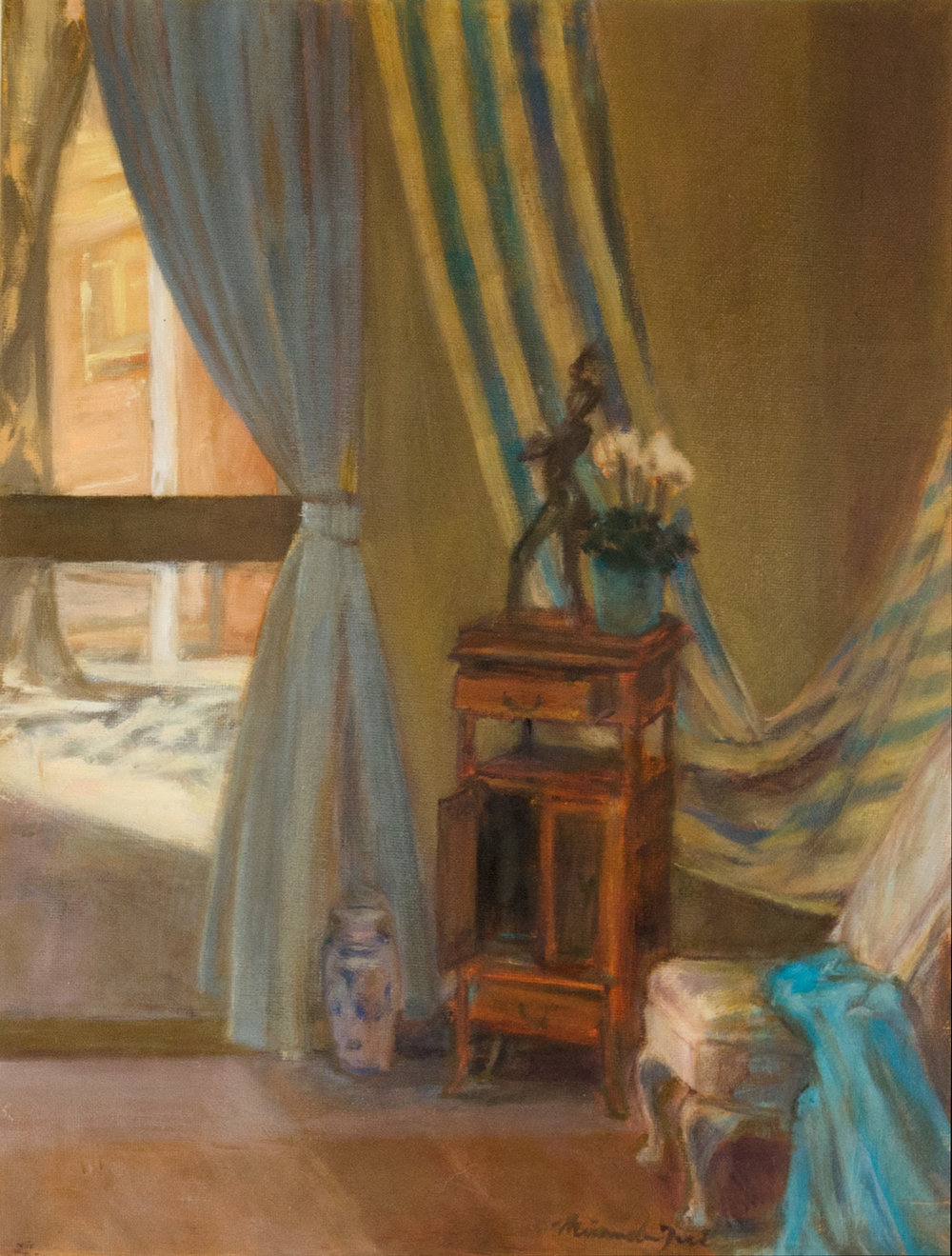 Interior with Statue  Oil on canvas board  16 x 12 inch  Framed size: 25.5 x 21 x 1 inch