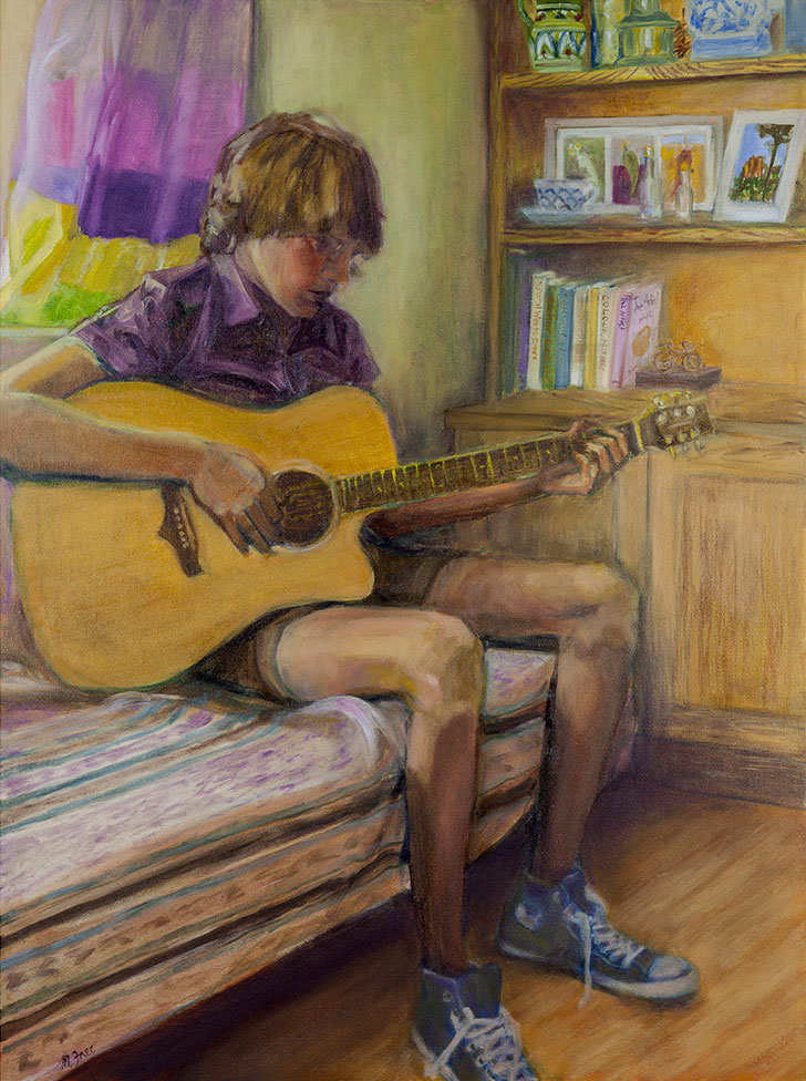 'I just wanna play guitar'  (2014)  Ten Agonies of Adolescence Series  Oil on canvas  24 x 18 inch  Framed size: 12 x 16 x 1 inch