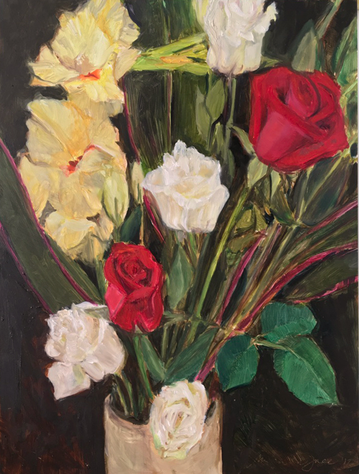 Floral Bouquet   Oil on panel  9 x 12 inch