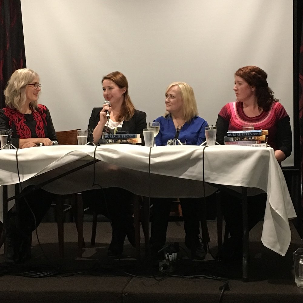 Chairing Sisters in Crime panel with authors Hannah Kent, Kathryn Fox and Jane Harper