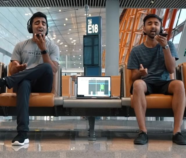 @diliprajan and I had a crazy long layover at the Beijing airport, so we decided to use our iPhone voice memos app + my laptop to do a live cover of Oh Lord by @miclowry! Pardon our 5(AM) o'clock shadow and Gate E18 in the background (it was going to Honolulu iirc lol) and hope you enjoy the fastest inspiration ➡️ song we've ever had! 🤚🏽🎤