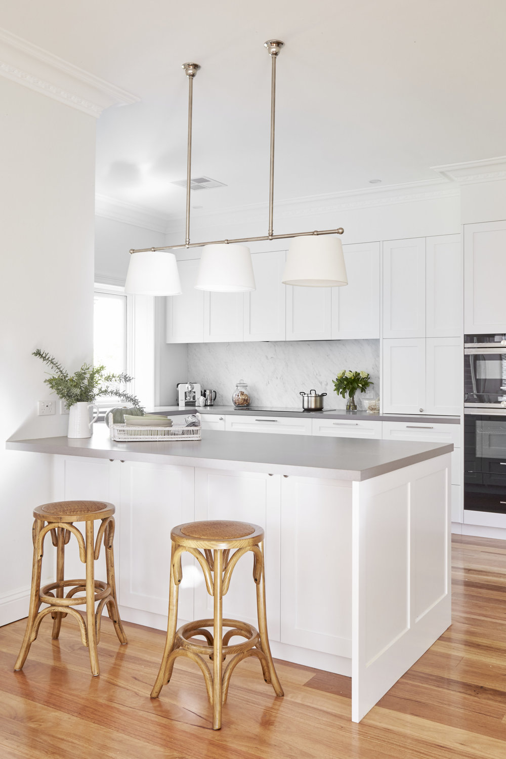 The Gloucester 3 Light featured in a kitchen designed by Sally Rhys Jones
