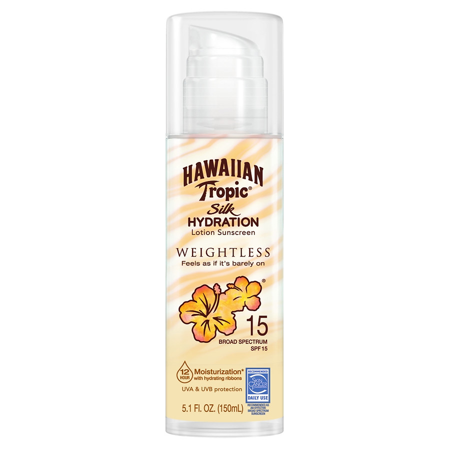 Hawaiian tropic silk hydration face- with SPF 30, it moisturize skin and keep makeup in place while in the sun.