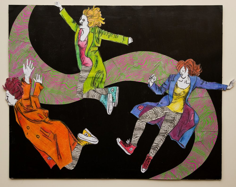 Girls in Coats and Chucks , 2009 mixed media