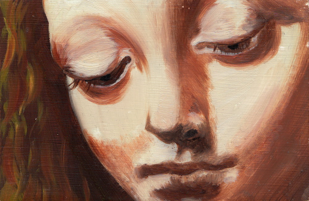 oil painting from Leonardo da Vinci's  Virgin of the Rocks , 2007 oil on wood panel