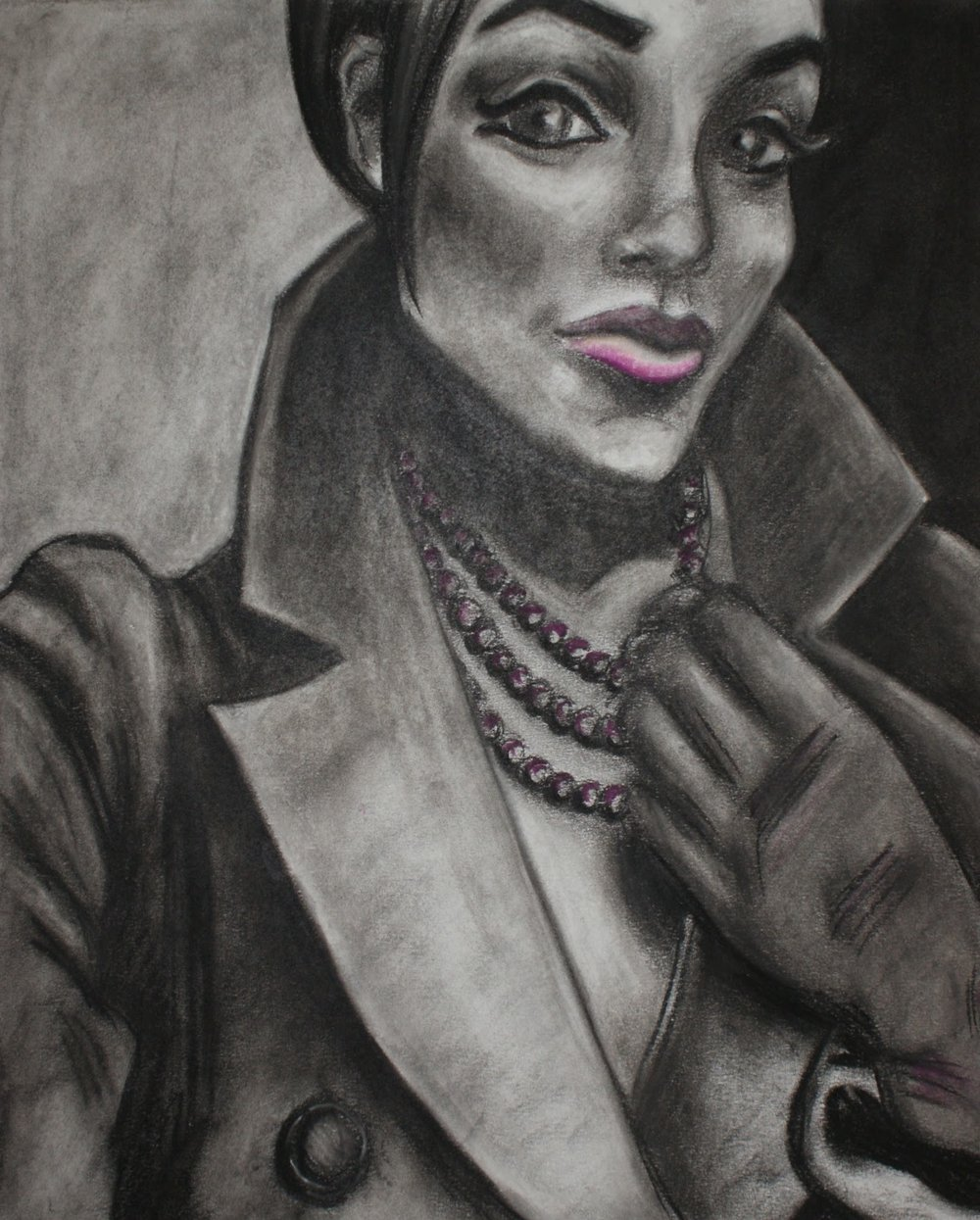 Woman in Coat , 2009 charcoal & soft pastel on paper