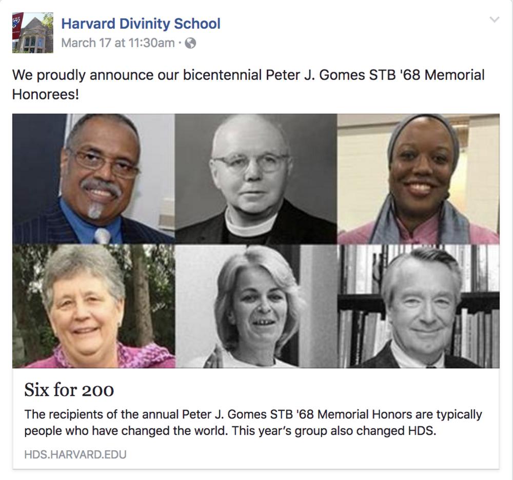 Harvard Divinity School  Bicentennial Peter J. Gomes STB '68 Honoree