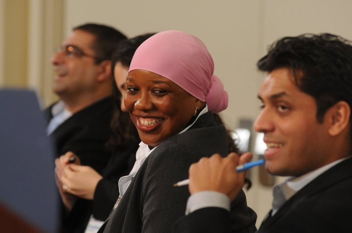 Precious speaks on panel at the 2011 Council for the Advancement of Muslim Professionals (CAMP) conference with Fatima Shama of NYC Mayor's Office of Immigrant Affairs, Dr. Hussein Rashid, and playwright Wajahat Ali.