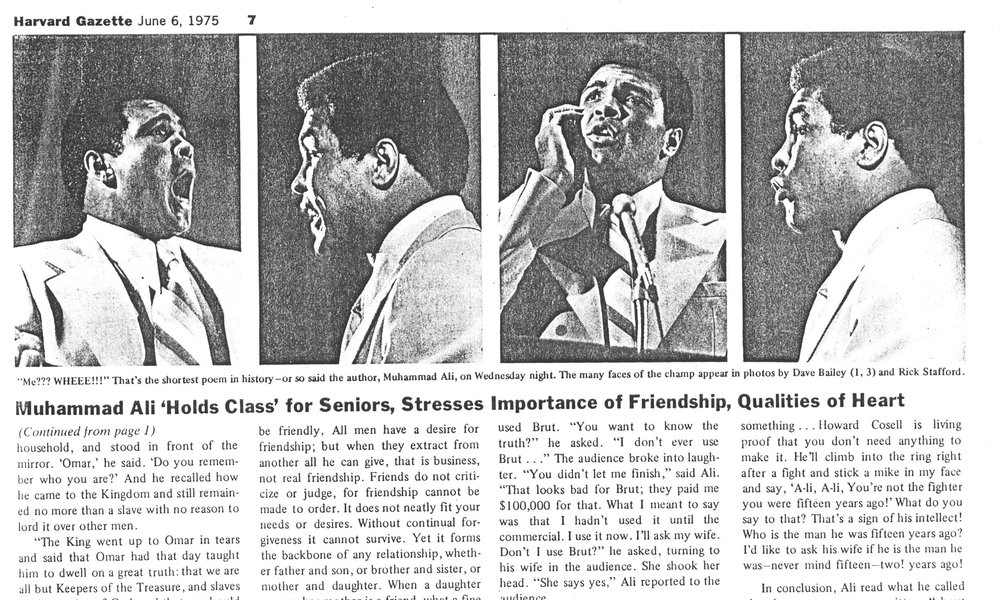 Article about Muhammad Ali at Harvard sent to Precious in the summer of 1999 from the Harvard University Archives.