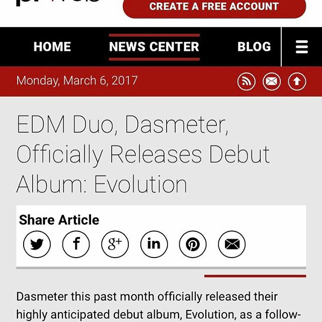 #EDM / #Electronica Duo, Dasmeter, Officially Releases Debut Album: Evolution story.cd/AAGOLw via @PRWeb #newmusic #Music