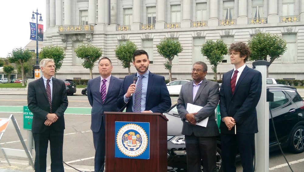 Brightline's Dr. Jackson Legal Fellow Ivan Jimenez speaking at the announcement of the California Electric Vehicle Initiative, June 28, 2017