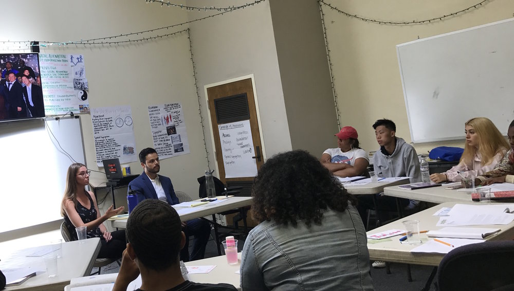 Brightline policy fellow Gina Kotos and staff attorney Ivan Jimenez discuss Green Zones with the Resilient Youth Leadership Academy in Bayview-Hunters Point, July 2018.