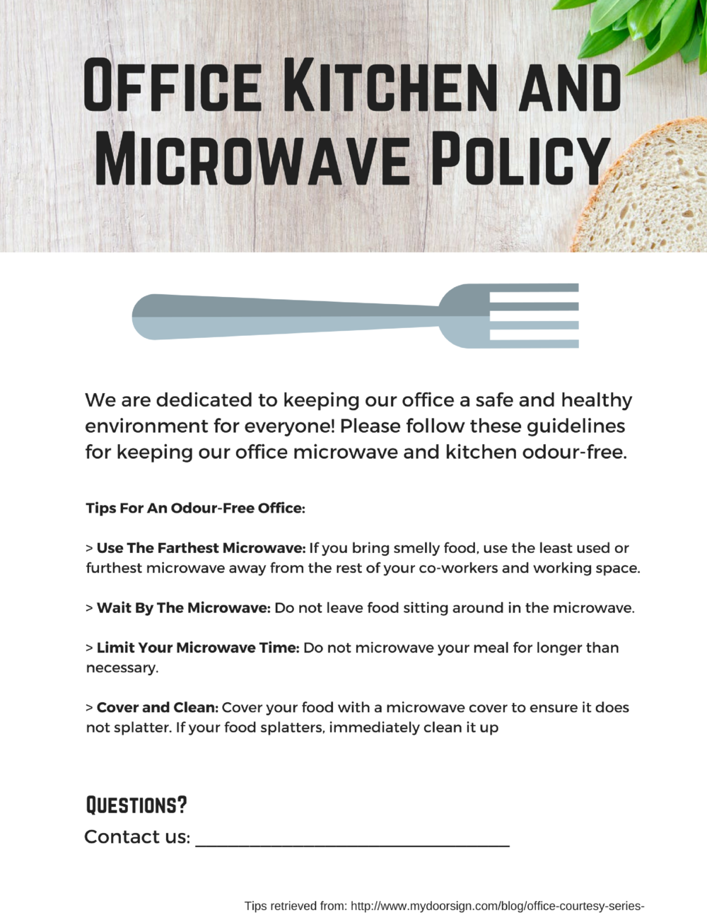Office Microwave Policy And Signs — Kitchener Clean