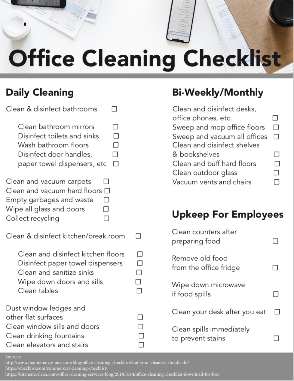 Office Cleaning Checklist - Download for Free — Kitchener Clean