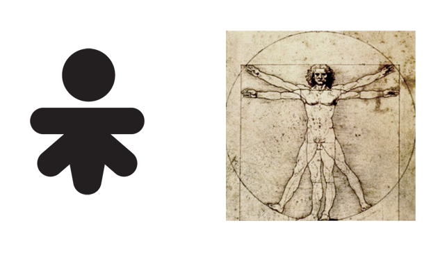 The logo is an abstraction of Da Vinci's Man of Vitruve