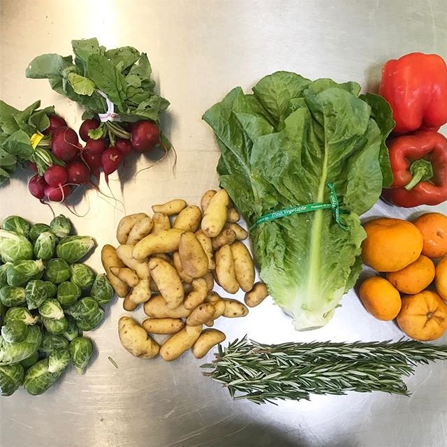 Every week my mind is blown how much produce is grown here in our neighborhood. -brussel sprouts from @rancholafamiliainc -radishes from @alcantar_organics -tangerines from Friends Ranch -rosemary from @kenterfarm -red bells from @sunriseorganicfarm -fingerling spuds from @weiserfamilyfarms -romaine lettuce head from new growers Harvest Moon Get in on this folks! $24 a week.