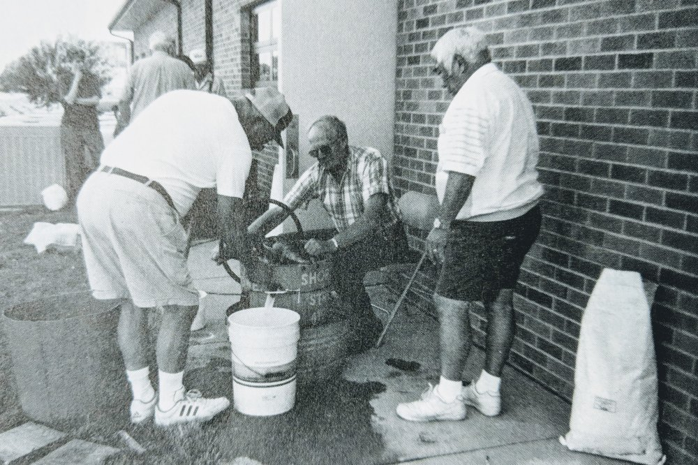 Making Ice Cream for our Church Ice Cream Social - 1997