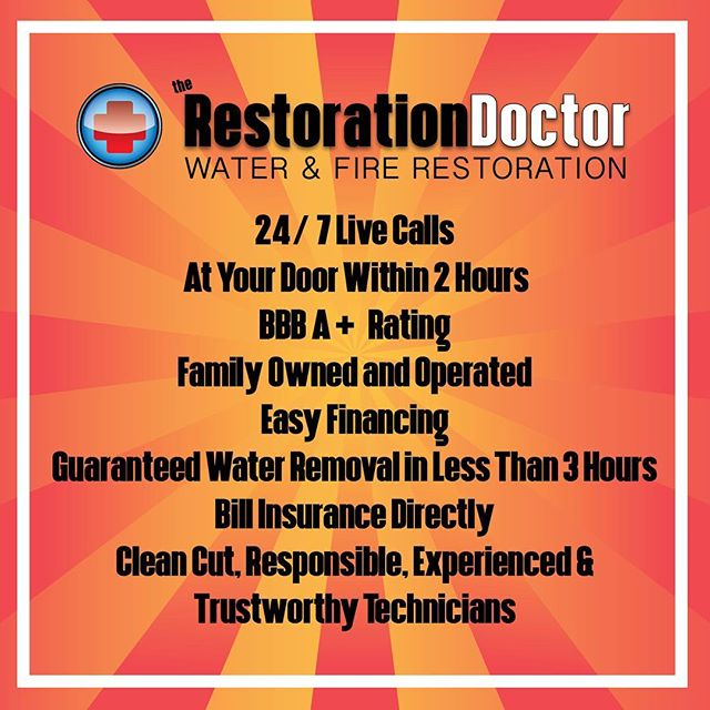 Some of the many reasons you should call the Restoration Doctor for your water and fire damage restoration needs! 586.522.4922 #therestorationdoctor