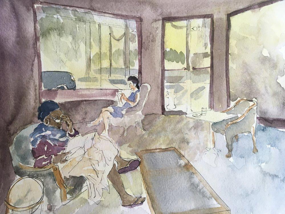 Women Reading, watercolor on paper (9x12)