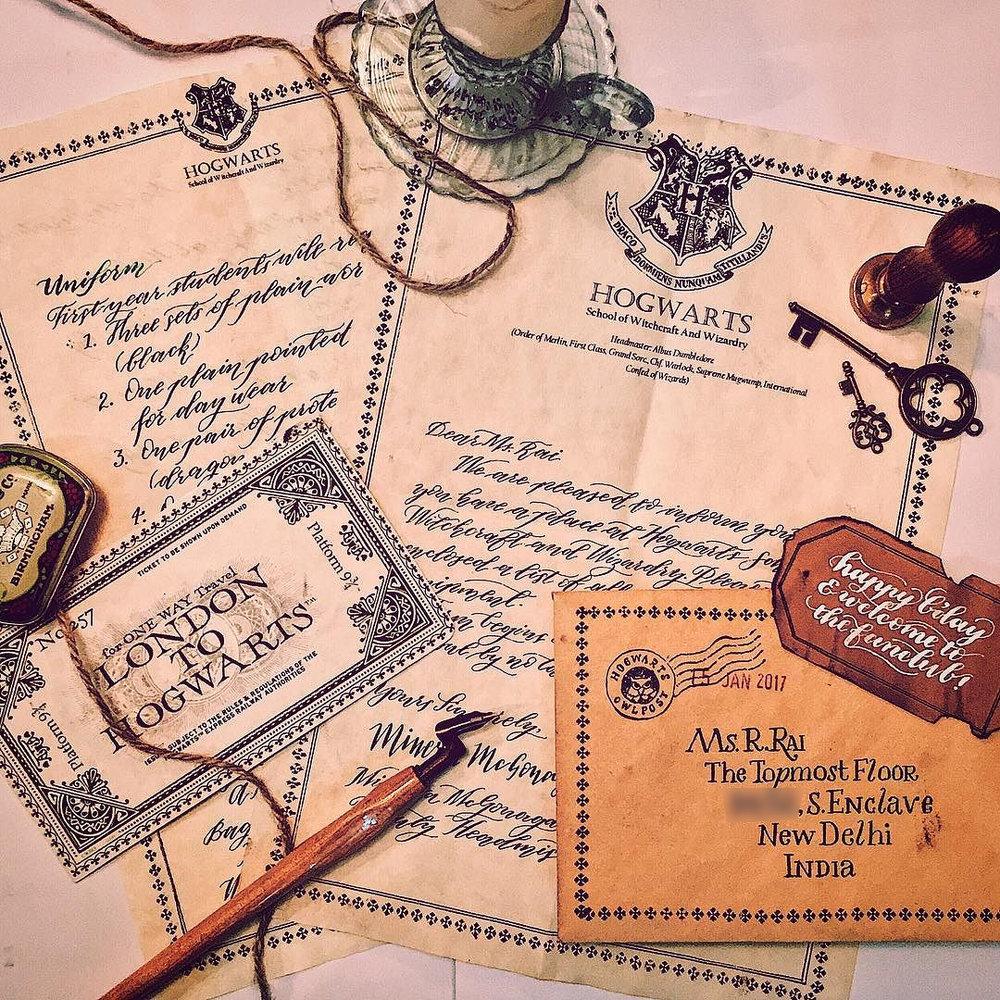 Handmade Hogwarts acceptance letter for a Harry potter fan