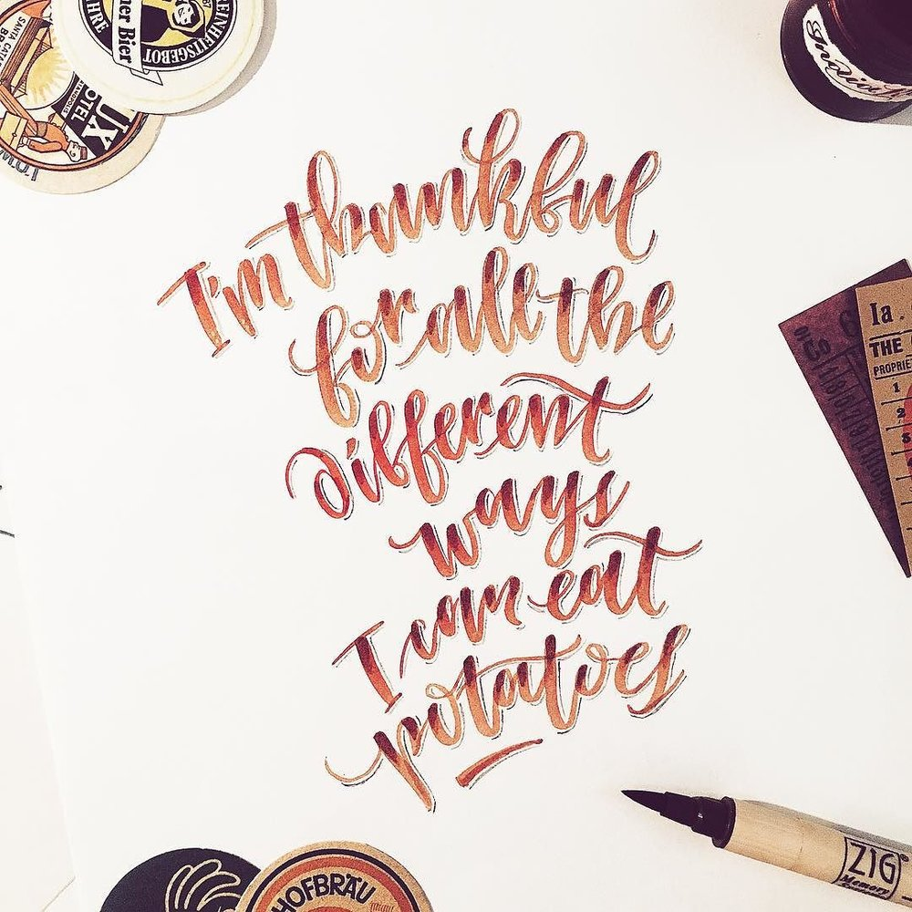 Love for potatoes. Brush lettering quote.