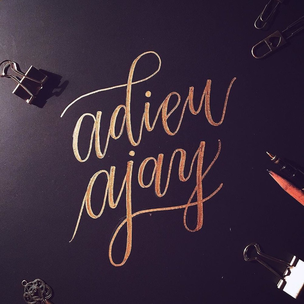 farewell card lettering in golden markers