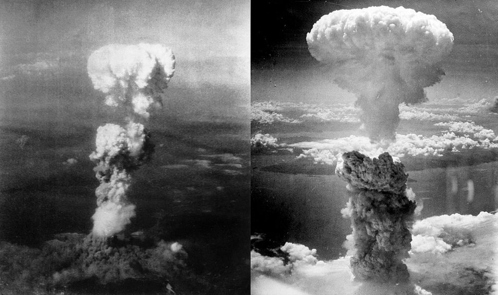 Os bombardeamentos atômicos das cidades de Hiroshima (esq)e Nagasaki (dir)foram dois bombardeios realizados pelos  Estados Unidos contra o  Império do Japão durante os estágios finais da  Segunda Guerra Mundial , em agosto de 1945. Foi o primeiro e único momento na história em que  armas nucleares foram usadas em guerra e contra alvos civis.