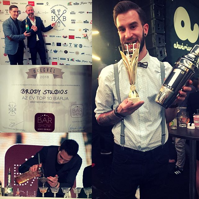 We are so proud! Brody Bartenders reap success at @barshowbudapest: Rico won 1st place in 'Long Drink' category while Zoárd earned 2nd spot in 'Bartenders Choice'... so no wonder Brody Studios got in the 'Top 10 Best Bars in Hungary'. Time to head over to the Studios for a yummy cocktail 🍸 #brodystudios #brodyland #brodybartenders #barshow #barshowbudapest #cocktail #cocktailcompetition #bestbar #cocktailbar #hungarianbartender #craftcocktails