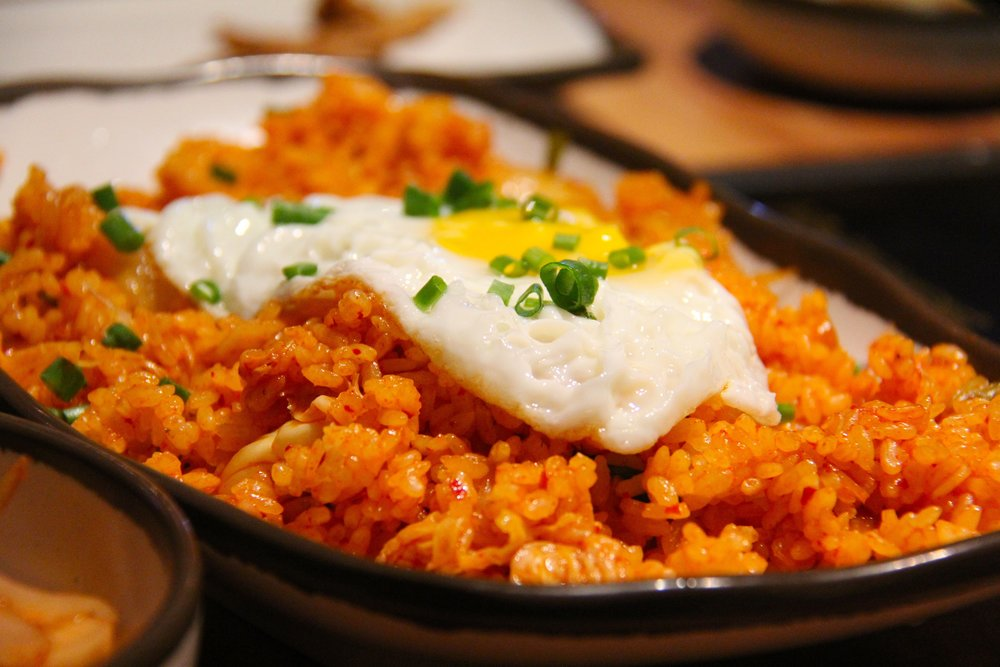 kimchi fried rice with fried egg