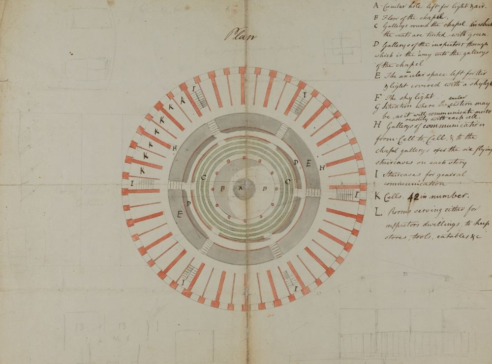 Plan of the panopticon prison. Courtesy UCL Special Collections, image captured by UCL Creative Media Services.