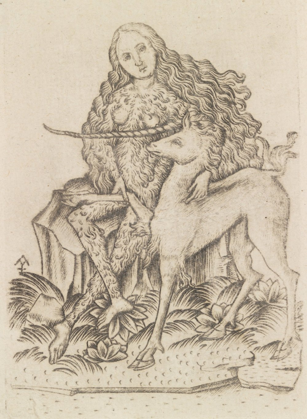 Wild woman with a unicorn (Queen of the Animals from the Small Playing Cards), Master ES (c. 1460)