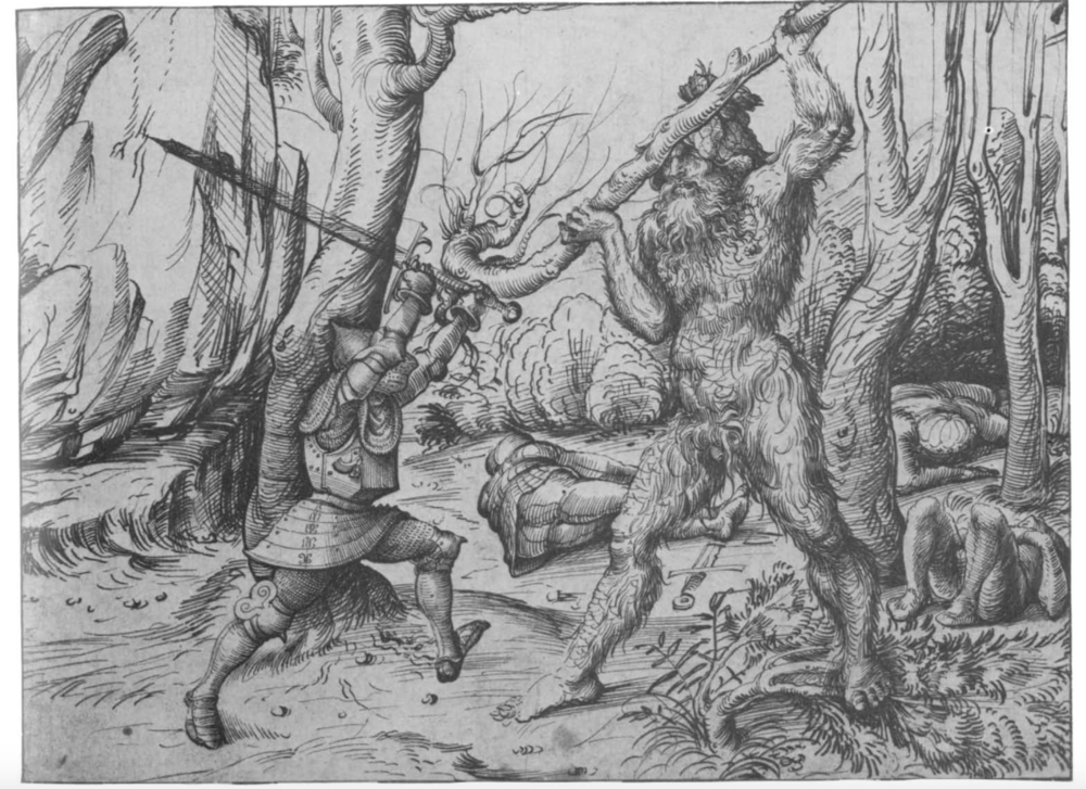 Hans Burgkmair, Wildman in combat with a knight. (c.1530) Image courtesy of National Gallery of Art, Washington D.C.