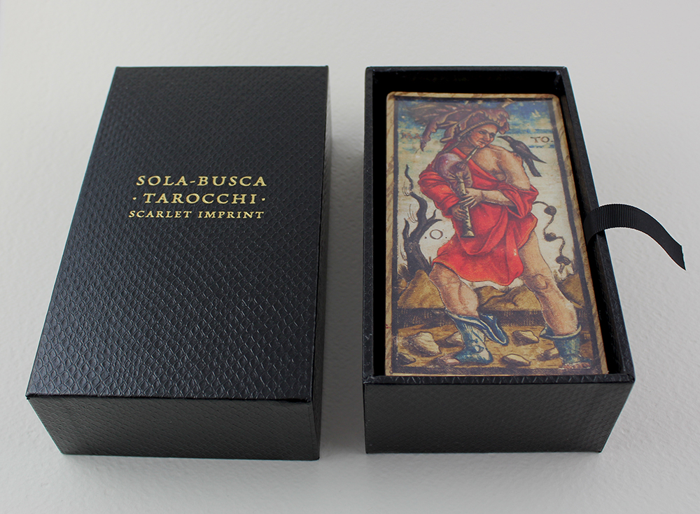 The Sola-Busca tarocchi deck housed in the box.